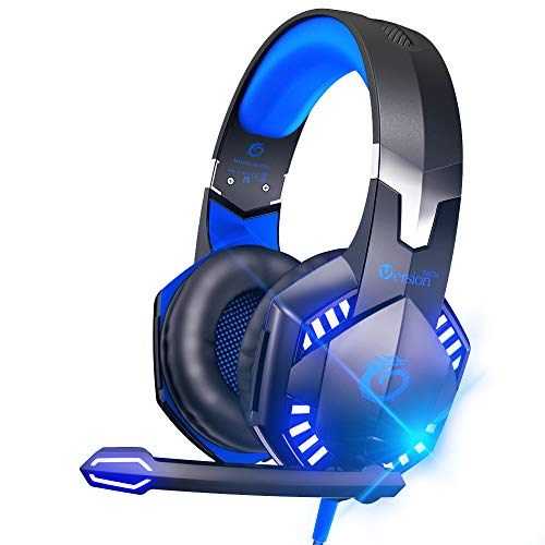 VersionTECH. G2000 Stereo Gaming Headset for Xbox One PS4 PC, Surround Sound Over-Ear Headphones with Noise Cancelling Mic, LED Lights, Volume Control for Laptop, Nintendo NES, PSP, NS Games -Blue from VersionTECH.