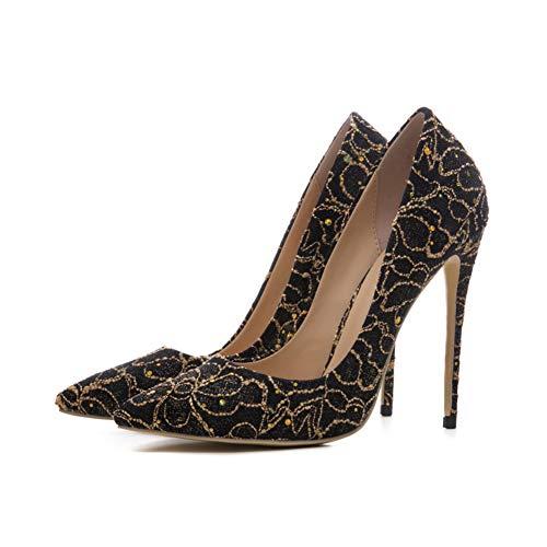 Banquet 12 Du Talon Chaussures Stilettos Simples Cm Femmes Plate Paillettes Étanche Hauteur Confortable Dentelle Pointé De La Soirée Chaussures Gold Forme Mode HAwqCZg