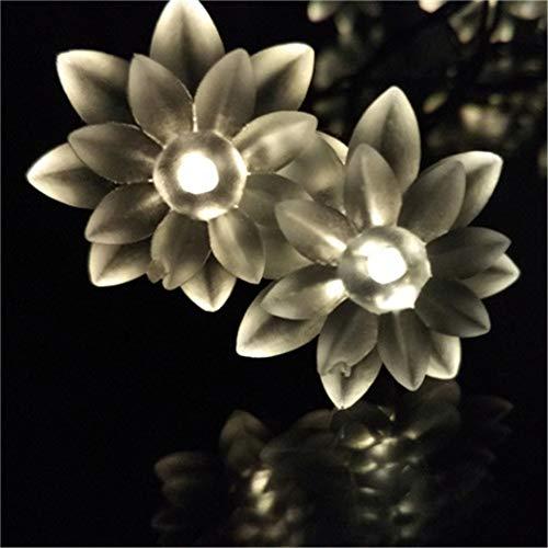 BGFHDSD 7M 50LED Christmas Lotus LED Solar Fairy Garlands String Light Outdoor Wedding Birthday Bars Decoration Casamento Luces Warm White by BGFHDSD