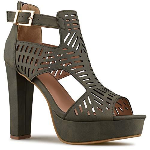 Premier Standard - Women's Laser Cut Out Ankle Strap High Heel - Open Toe Sandal Pump - Chunky Wooden Heel Platform Shoe, TPS2019100133 Olive Green Size 7 ()