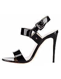 Amy Q Women's Open Toe Buckle Stiletto Heeled Sandals Size 4-15.5