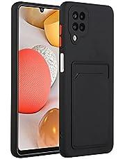 Molg Hoesje voor Samsung Galaxy A12 5G [Screen Protector] Ultradunne Zachte TPU Siliconen Shock Proof Bumperafdekking Met Kaartsleuf Beschermhoesje-Zwart