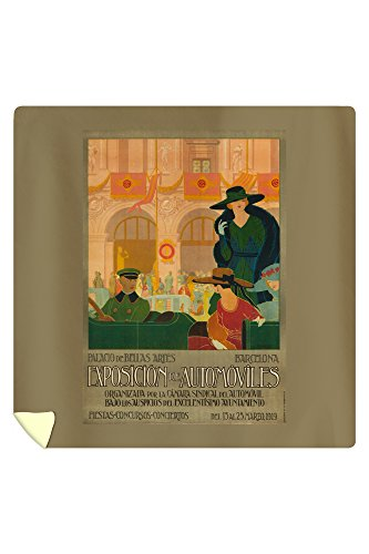 Exposicion de Automoviles Vintage Poster (artist: Montanya) Spain c. 1919 (88x88 Queen Microfiber Duvet Cover) by Lantern Press