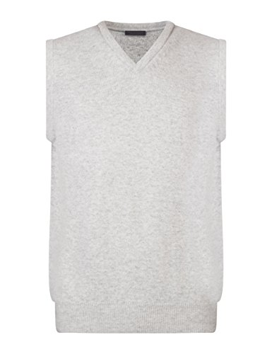 Great & British Knitwear Men's HK600 100% Lambswool Plain V-Neck Sweater Vest-Pearl Grey-X-Large ()