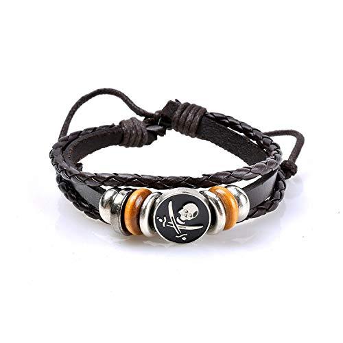 Punk Genuine Wrap Leather Bracelets Men Women Onyx Lava Hematite Jewelry Accessories DIY Stone Beads Bangles,1369