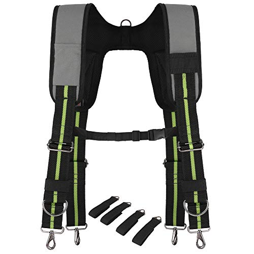 Padded Tool Belt Suspenders w/Chest Strap, Pencil Sleeve, Molle Clip | Durable 1000D Material & Metal Buckles/Hooks | Fully Adjustable Hi-Vis Harness | Construction Grade Carpenter Suspension Rig (Awp Suspenders)