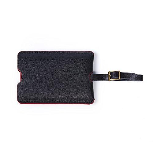 Magic Vosom Genuine Leather Luggage Tags Suitcase Bag Name Address ID Label (Black) by Magic Vosom