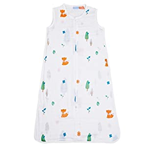 1st Laugh 100% Cotton Muslin Baby Sleeping Sack Bag, for Boy and Girl (Forest, S)