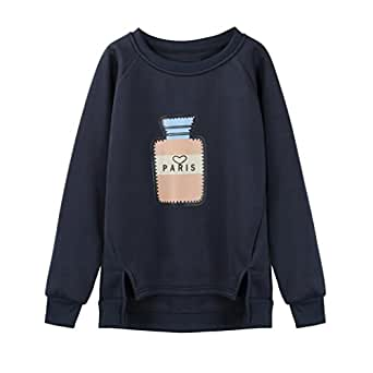 Hot Sale! Women's Blouse,AmyDong Women's long-sleeved cartoon printing sweater (M, Navy)