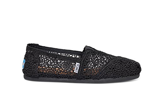 TOMS Womens Classic Linen Rope-Sole Comfortable and Easy-Fit Slip-On Black Moroccan 4p5rO3Hjo