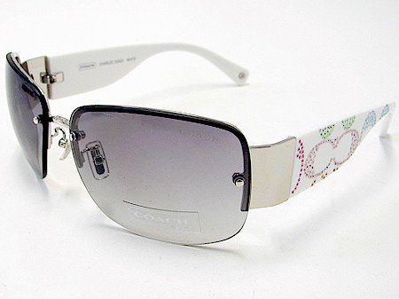 6071087a9ccb New Coach Charlee S342 S-342 White Frame Swarovski Sunglasses Grey ...