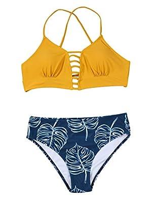 Tempotrek Women Two Pieces Swimsuit High Waisted Floral Print Bottom Spaghetti Strap Halter Top Lace Up Bikini Set