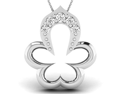 Or Blanc 18 ct Pendentifs Diamant en forme de fleur, 0.02 Ct Diamant, GH-SI, 0.34 grammes.