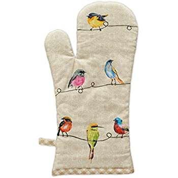 Maison d' Hermine Birdies On Wire 100% Cotton Oven Mitt, 7.5 - inch by 13 - inch.