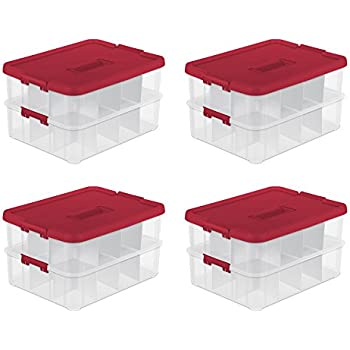 Sterilite 24 Compartment Christmas Ornament Storage Box (4 Pack) | 14276604