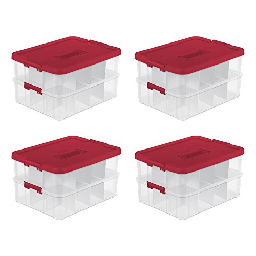 Sterilite 24 Compartment Christmas Ornament Storage Box (4 Pack)
