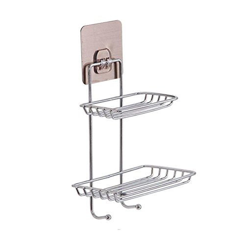 Cuteboom Soap Dishes Double Layers Adhesive Soap Holder Stainless Steel Shower Soap Holder Sponge Box for Bathroom/Kitchen /Tile Mounted 2 Tier (Double Layers)