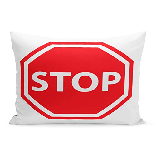 Semtomn Throw Pillow Covers Red Traffic Stop Sign Access Admission Area Boundary Clipart Pillow Case Cushion Cover Lumbar Pillowcase Decoration for Couch Sofa Bedding Car 20 x 36 - Clipart Traffic Signs