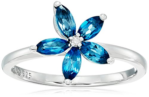 Sterling Silver London Blue Topaz and Diamond Flower Ring, Size 7 (Seven Diamond Flower Ring)