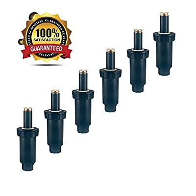 "A7001 Automatic Sprinkler System - 6 Pack- 4"" Plastic Spring Loaded Pop-Up Sprinkler with Professional Brass Nozzle 180 Degree for Automatic Sprinkler Irrigation System"