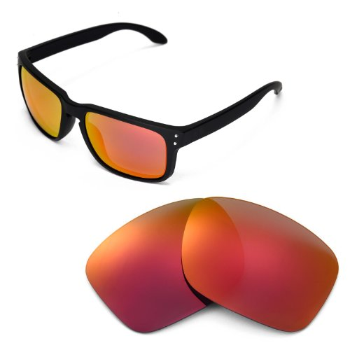 Walleva Replacement Lenses for Oakley Holbrook Sunglasses -Multiple Options (Fire Red Mirror Coated - - Polarized Holbrook Lenses