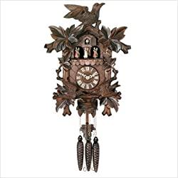 River City Clocks Eight Day Musical Cuckoo Clock with Dancers - Moving Birds Feed Bird Nest