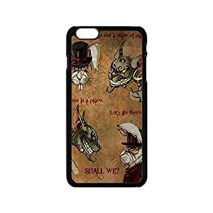 Cool Cheshire Cat Quotes We Are All Mad Here Shock Resistant Hard Plastic Case Cover with Design for iPhone 6 Plus 5.5