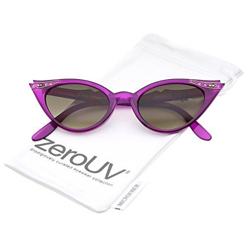 zeroUV - 50s Vintage Cat Eye Sunglasses for Womens with Rhinestones Pinup Girl Clothing Rockabilly Accessories ()