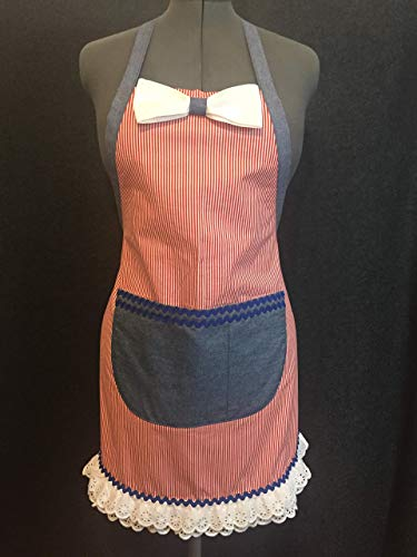 Eyelet Apron - Apron Red/White Stripe with Eyelet Bow