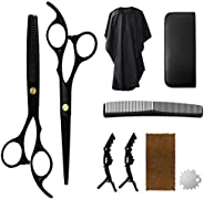 Hair Cutting Scissors Set, Professional Haircut Shears with Thinning Scissors Black Hairdressing Kit for Barbe