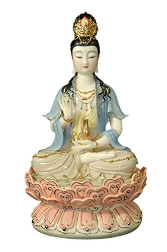 Jademarket Hongkong Home Decorative Porcelain Quan Yin With Gold Detail & Black Hair