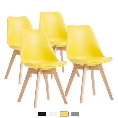 YEEFY Dining Chairs Side Chair DSW Dining Chair Walnut Legs, Set of 4(Yellow) Dining Room Set Loveseat
