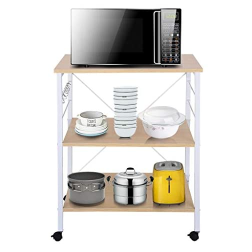 shamoluotuo Kitchen Rolling Baker's Rack Microwave Stand with 10 S-Shaped Hooks for Spice Rack Organizer Utility Cart on…