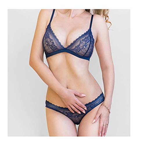 - Hollow Bra Set Panties Women Wire Free Lace Underwear Set Ultra-Thin Transparent Lace Bra Sets Blue S or 70ABC