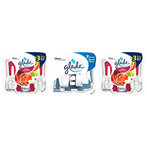 (Glade PlugIns Scented Oil Air Freshener Value Pack, 2 Warmers + 6 Apple Cinnamon Refills, 4.02 fl oz)