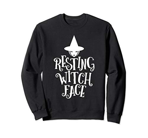 Resting Witch Face Funny Halloween Sweatshirt ()