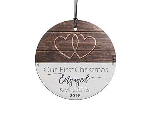 First Christmas Engaged Fused Glass Ornament Personalized Rustic Double Hearts Farmhouse Christmas Tree Date Display 3.5