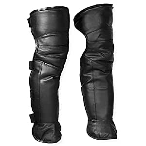 """1 Pair 23"""" Black Double Layer Leather Faux Fur Unisex Men Women Adult Adjustable Velcro Strap Closure Windproof Warmer Warm Gaiter Legging Legs Cover Half Chaps for Winter Wind Snow Bike Motorcycle Rider"""