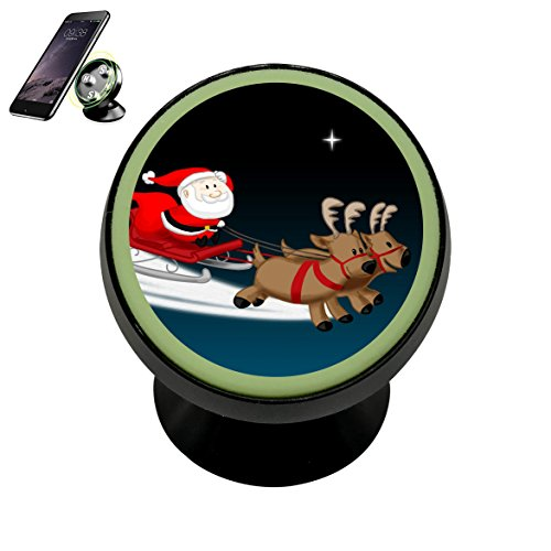 Santa Reindeer Sleigh Magnetic Phone Car Mount Holder Noctilucent Mobile Cradle Stand Universal 360 ° Rotating Car Dashboard Support Cell Phone Kit Gadget (Sleigh Cradle)