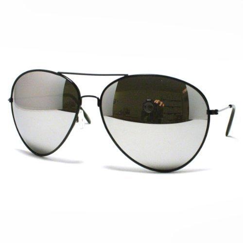 Black Super Oversized Aviator Sunglasses Unisex Fashion Big Mirror Lens