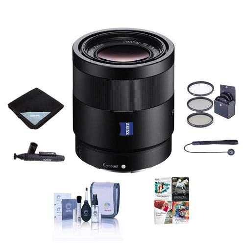 Sony Sonnar T FE 55mm F1.8 ZA E-mount NEX Camera Lens Bundle with 49mm Filters &Pro Software (Sony 55mm F1 8 Sonnar T Fe Za)