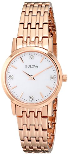- Bulova Women's 97P106 Diamond Gallery Analog Display Japanese Quartz Rose Gold Watch