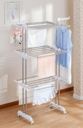 idee Freestanding Collapsible Height-Adjustable-Rack Rolling 3-Tier Clothes (Laundry) Drying Rack with Durable Stainless-Steel Hanging Rods for Indoor or Outdoor, PDR22LG, Ivory (Collapsible Rack Stainless Drying)