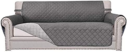 Reversible Quilted Furniture Protector, Improved Anti-Slip Sofa Cover with Elastic Strap and Anti-Slip Foam, Sofa Slipcover, Micro Fabric Sofa Shield, Pet Cover by Easy-Going