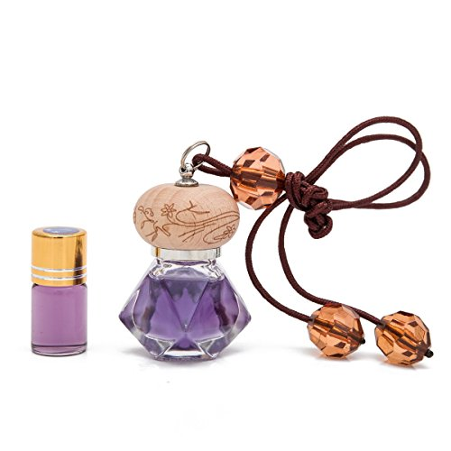 (THY COLLECTIBLES Fragrance Oil Aromatic Perfume Oil Locket Pendant- Violet Scent 10ML Prefilled Elegant Quadrangle Glass Bottle And An 3ML Refill-Nice Hanging Decoration Display For Home Or Car)