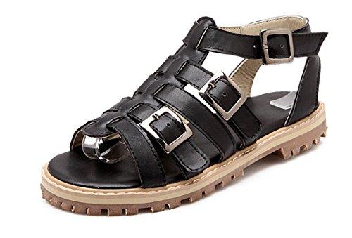 YE Frauen öffnen Peep Toe Flache Knochelriemen Leder Sommer Sandalen Gladiator T-strap Schuhe mit Schnalle Römersandalen Schwarz