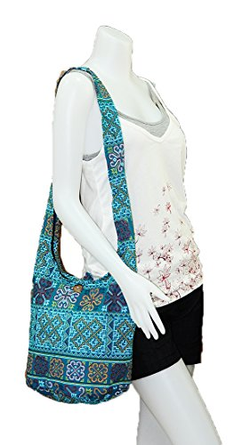 Bag Gypsy Viridian Shoulder Medium Ethnic Hippie Boho Thai Handmade Purse Crossbody Hobo Colorful Sling M1241 Messenger Zip Cotton xXnpA1
