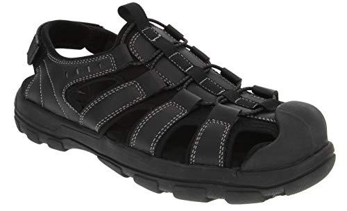 London Fog Mens Finsbury Bumptoe Athletic Sandals Black 8 ()