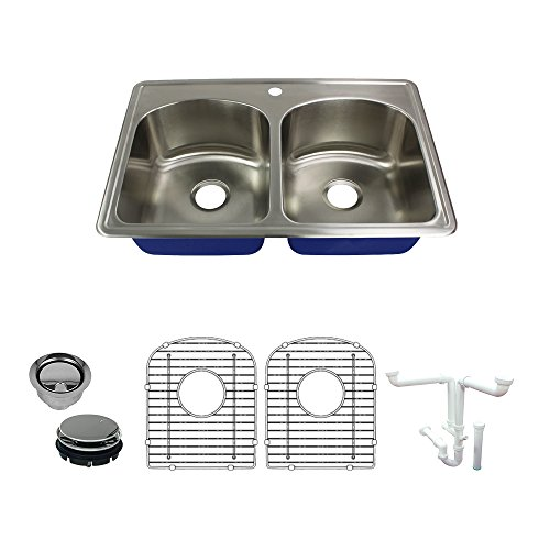 (Transolid K-MTDD33229-1 Meridian 1-Hole Drop-in 50/50 Double Bowl 16-Gauge Stainless Steel Kitchen Sink Kit 33-in x 22-in x 9-in Brushed Finish)