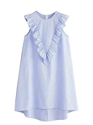 - Floerns Women's Vertical Striped Ruffle Front Tunic Dress S